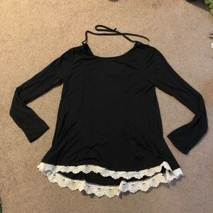 Black long sleeve top with lace